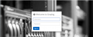 Graylog logon page with customized background